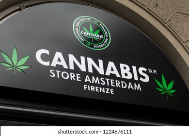Florence, Italy - OCTOBER 24, 2018: Cannabis store Amsterdam logo on Cannabis store Amsterdam's shop. The Cannabis Store Amsterdam network was launched in 2017