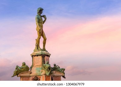 Florence, Italy - October 24, 2018: David statue at Michelangelo square in Florence, Italy against blue sky