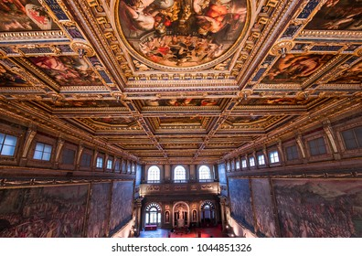FLORENCE, ITALY, OCTOBER 25, 2015 : interiors and architectural details of Palazzo Vecchio, october 25, 2015 in Florence, Italy