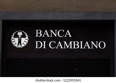 Florence, Italy - OCTOBER 25, 2018: Banca di cambiano logo on Banca di cambiano bank office. Banca di cambiano is an italian bank