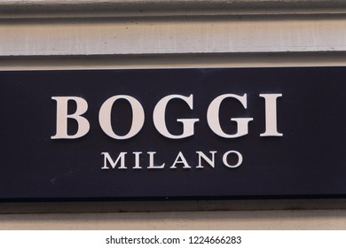 Florence, Italy - OCTOBER 25, 2018:  Boggi Milano logo on Boggi Milano's shop. Boggi Milano is an italian clothing brand for men suits