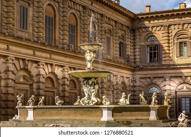 Florence, Italy - October 27, 2018: Fountain statue close-up view near Palazzo Pitti Palace and Boboli gardens
