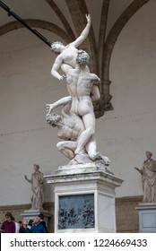 FLORENCE, ITALY - OCTOBER 28, 2018: The Rape of the Sabine Women  by Giambologna