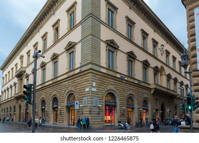 FLORENCE, ITALY - OCTOBER 28, 2018: Luxury boutiques along Florence's prestigious Via de' Tornabuoni.