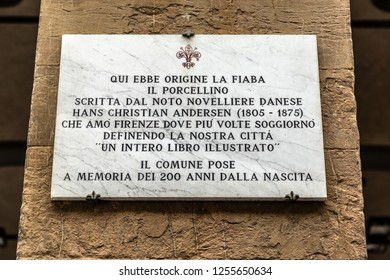 Florence, Italy - October 28, 2018: Memorial to Hans Christian Andersen at Mercato Nuovo