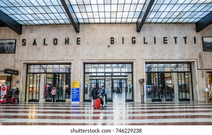 Florence, Italy - October 28th, 2017: Ticket hall at Florence, Italy's Santa Maria Novella rail station connecting to major cities in Italy