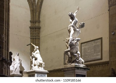 FLORENCE, ITALY - OCTOBER 30 2015: The Rape of the Sabine and Hercules and Nessus  sculptures in Loggia dei lanzi in Florence
