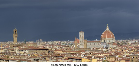 FLORENCE, ITALY - OCTOBER 30, 2018: Panorama of Florence with the Palazzo Vecchio, Giotto's Campanile and the Santa Maria del Fiore or Duomo.