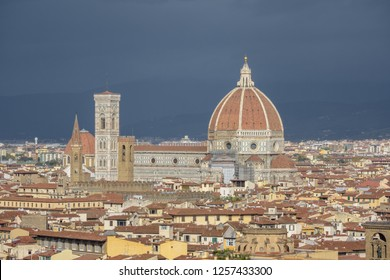 FLORENCE, ITALY - OCTOBER 30, 2018: Panorama of Florence with the Giotto's Campanile and the Santa Maria del Fiore or Duomo.