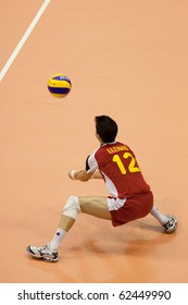 FLORENCE, ITALY - OCTOBER 5: cuban player Yenry Bell Cisnero recives the ball at Volleyball World Championships  Spain vs Cuba at Nelson Mandela Forum in Florence on October 05, 2010