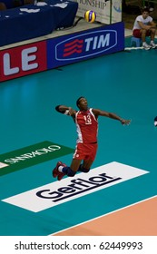 FLORENCE, ITALY - OCTOBER 5: cuban player Robertlandy Simon Aties serves at Volleyball World Championships  Spain vs Cuba at Nelson Mandela Forum in Florence on October 05, 2010