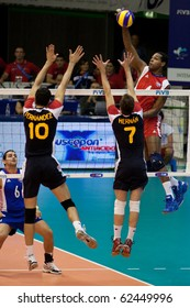 FLORENCE, ITALY - OCTOBER 5: cuban Joandy Leal Hidalgo spikes ball at Volleyball World Championships  Spain vs Cuba at Nelson Mandela Forum in Florence on October 05, 2010