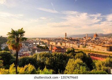 Florence, Italy - October, 9, 2017 - Showing the skyline of the Italian city of Florence, with Florence cathedral in the background
