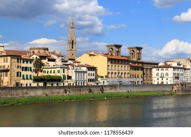 Florence, Italy - old town view of riverfront.