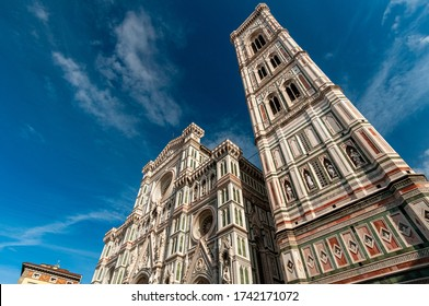 Florence, Italy on October 29, 2012. Giotto's bell tower next to the Basilica of Santa Maria del Fiore, the Duomo.