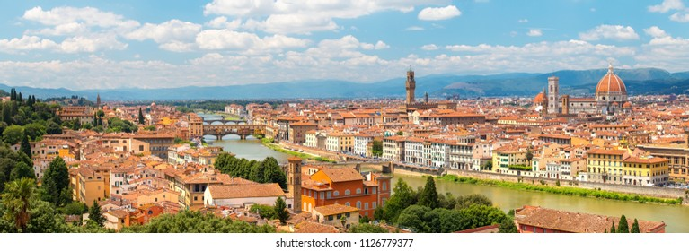 Florence. Italy. Panorama of Florence on a sunny day. Florence cityscape on bright blue sky background.