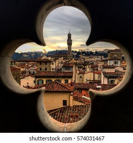 Florence, Italy as seen through a church bell tower