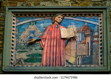 FLORENCE, ITALY -  SEPEMBER 25, 2018 Societa Dante Alighieri Cultural Society Building Sign Copy Domenico di Michelino Dante Divine Comedy Painting Florence Italy.  Painting created 1465