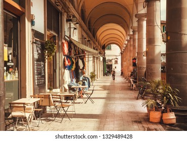 FLORENCE, ITALY - SEPT 24: Many small shops and restaurants in center of old city on September 24, 2018. Historical Florence is a UNESCO World Heritage Site.