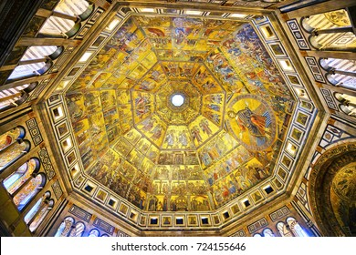 Florence, Italy - September 11, 2016 : Interior of the Florence Baptistery next to the Florence Cathedral in Florence with the beautiful mosaic ceiling on September 11, 2016.