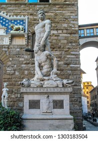 FLORENCE, ITALY - SEPTEMBER 13, 2011:  Hercules and Cacus near the Loggia dei Lanzi in the Piazza della Signoria in Florence, Italy.