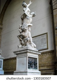 FLORENCE, ITALY - SEPTEMBER 13, 2011:  The Rape of the Sabine Women inside the Loggia dei Lanzi in the Piazza della Signoria in Florence, Italy.