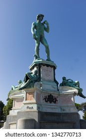 FLORENCE, ITALY - SEPTEMBER 14 2013 - Copy of Michelangelo's David in Piazzale Michelangelo, Florence, Italy