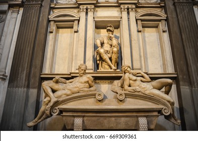Florence, Italy - September 15, 2016: The Basilica di San Lorenzo, The Sagrestia Nuova