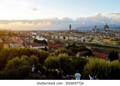 FLORENCE, ITALY - SEPTEMBER 17, 2017: View from Piazzale Michelangelo; Piazzale Michelangelo is a popular square on the top of a hill in Oltrarno district from where tourists as well as locals observe