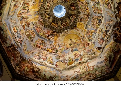 FLORENCE, ITALY - SEPTEMBER 18, 2017:  Detail of the Last Judgment; a monumental fresco painted by Giorgio Vasari and Federico Zuccari in 16th century in the Dome of Florence Cathedral