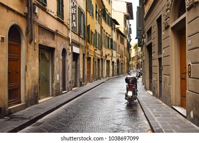 FLORENCE, ITALY - SEPTEMBER 18, 2017: Deserted street in Florence in Italy.