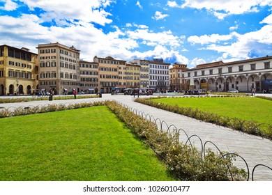 FLORENCE, ITALY - SEPTEMBER 19, 2017:  Piazza di Santa Maria Novella.