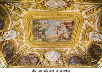 FLORENCE, ITALY - SEPTEMBER 2, 2014: Fresco paiting in Palatina Gallery, Palazzo Pitti (Pitti Palace), a Renaissance palace.