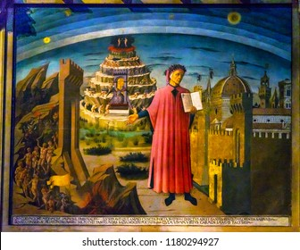 FLORENCE, ITALY - SEPTEMBER 23, 2017 Domenico di Michelino Dante Divine Comedy Painting Duomo Cathedral Santa Maria del Fiore Church Florence Italy.  Painting created 1465