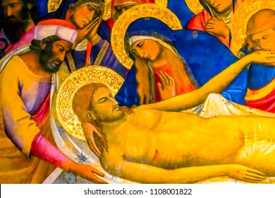 FLORENCE, ITALY - SEPTEMBER 24, 2017 Anointing Christ Crucifixion Altar Painting Saint Charles San Carolo dei Lombardi Church Florence Italy.  Painting from 1300s.