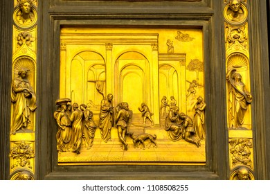 FLORENCE, ITALY - SEPTEMBER 24, 2017 Esau Jacob Gates of Paradise Ghiberti Bronze Door Bapistry Duomo Cathedral Church Florence Italy.  Bronze Doors Created early 1400s by Lorenzo Ghiberti.