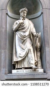 FLORENCE, ITALY - SEPTEMBER 24, 2017 Dante Aligheri Italian Poet Statue Uffizi Gallery Florence Italy.  Statue by Emilio Demi in early 1800s.