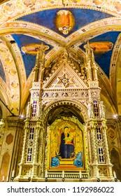 FLORENCE, ITALY - SEPTEMBER 24, 2017 Daddi Madonna Child Painting Orsanmichele Church Florence Italy.  Bernardo Dadi Painting 1365