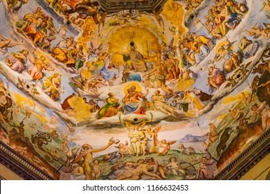 FLORENCE, ITALY - SEPTEMBER 25, 2017 Giorgio Vasari Fresco Jesus Christ Last Judgment Dome Duomo Cathedral Santa Maria del Fiore Church Florence Italy.