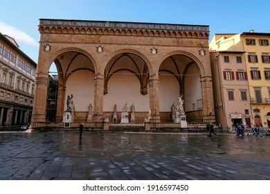FLORENCE, ITALY – SEPTEMBER, 25 2020: The Statues of Loggia dei Lanzi in Piazza della Signoria - Tuscany