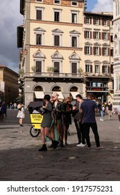 FLORENCE, ITALY – SEPTEMBER, 25 2020: People in front of Basilica di San Marco - Tuscany