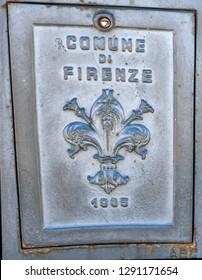 FLORENCE, ITALY - SEPTEMBER 27, 2017 Florentine Lily Fleur de Lis Flower Florence City Symbol Statue.