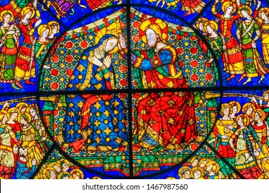 FLORENCE, ITALY  - SEPTEMBER 27, 2017 Coronation Of Mary By Jesus Rose Window Stained Glass Chapel Santa Maria Novella Church Florence Italy. First Church in Florence founded 1357