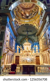 Florence, Italy - September 27, 2018: Interior of All Saints, Chiesa di San Salvatore di Ognissanti in Florence