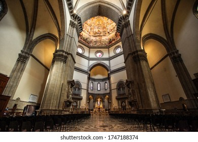Florence, Italy - September 8, 2011: Florence - Duomo . Main nave inside cathedral of Santa Maria del Fiore in Florence. Italy
