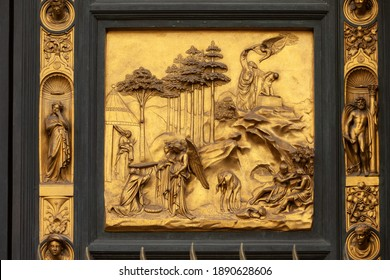 Florence, Italy - September 8, 2011: Baptistery , Panel of the Door of Paradise