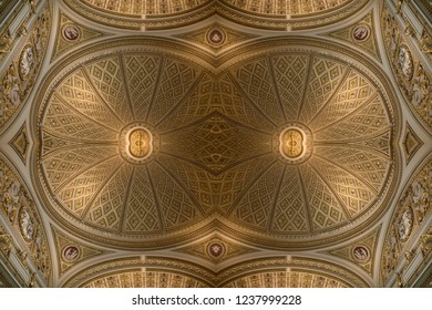 Florence, Italy-June 12, 2015. Graphic digital montages of the ornate ceiling Dome in one of the halls of the Uffizi Gallery in Florence, Italy.