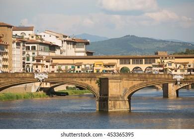 Florence, Italy-May 31, 2015. View of the  Ponte Santa Trinita Bridge, across the Arno river, Florence , Italy