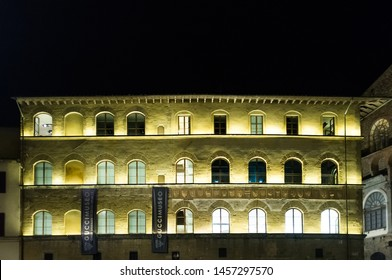 FLORENCE, ITALY-MAY,01 2013:view of the fondazione gucci museum  in Piazza della Signoria in Florence, Italy during the traditional white night celebration