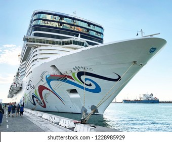 FLORENCE, ITALY-OCTOBER 4, 2018:  Norwegian Epic, one of the largest passenger ships in the world, holds over 4,000 guests.